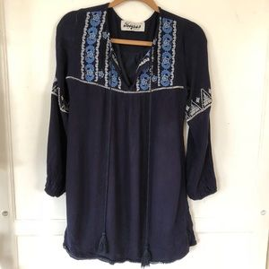 Navy blue bohemian styled mini dress